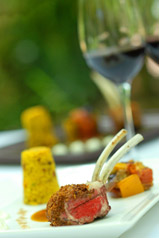 Spiced Moroccon Rack of lamb served with fig couscous, classic tatatouille, condiment & cardomom minted jus